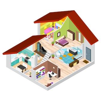 Casa in vista isometrica spaccata stanza di base dell'appartamento, edificio in sezione con mobili.