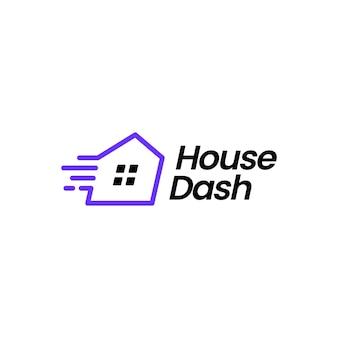 Illustrazione dell'icona di vettore del logo del trattino della casa