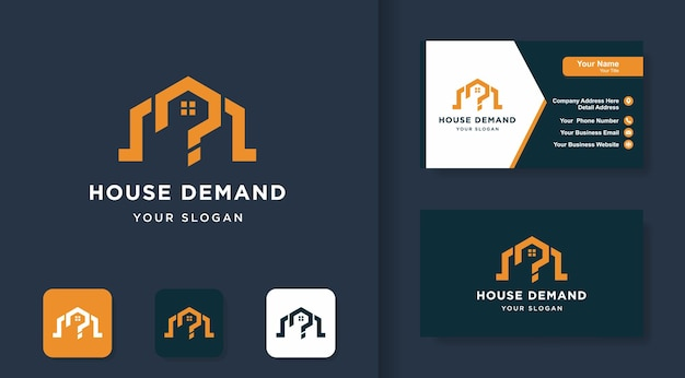 Logo della domanda della casa, combinazione di casa e punto interrogativo e semplice biglietto da visita
