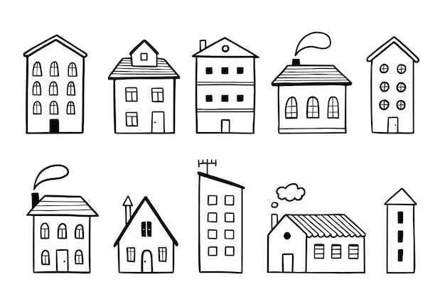 Schizzo disegnato a mano dell'insieme di doodle della casa