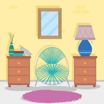 Cassetti della casa e scena della sedia