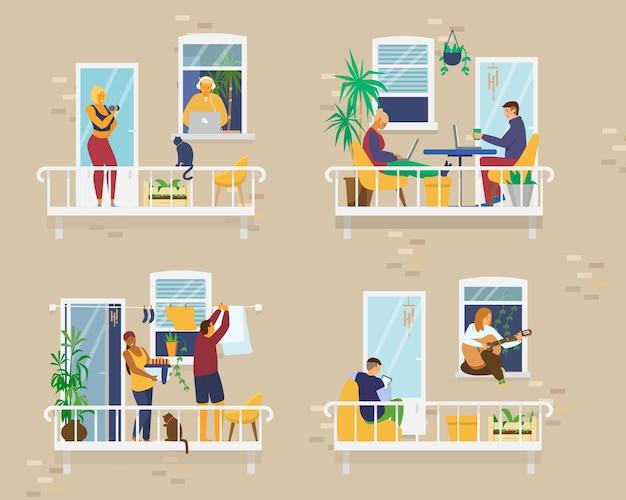 Esterno della casa con persone su balconi accoglienti durante la quarantena e che svolgono diverse attività: studiare, suonare la chitarra, lavorare, fare yoga, fare il bucato, leggere. vicinato. piatto