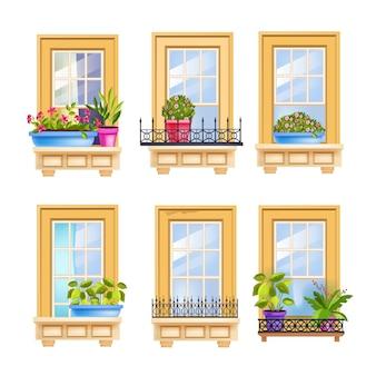 Set di finestre per facciata di casa con piante domestiche, rose, cornice in legno, ringhiere in ferro.