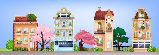 Facciate di case, illustrazione di strada di edifici d'epoca con cottage residenziali retrò, alberi