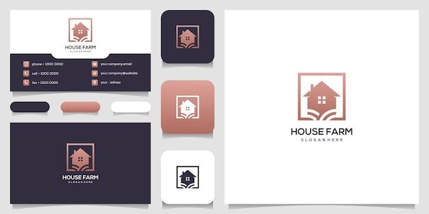 Modello di progettazione di logo e biglietto da visita di casa fattoria