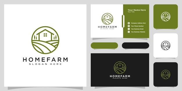 Stile della linea di disegno vettoriale del logo della fattoria della casa e biglietto da visita