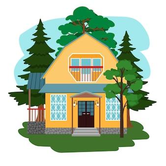 Casa nella foresta. casa di campagna carina tra gli alberi, misteriosa bella fauna selvatica, cottage giardino da favola in campagna, illustrazione vettoriale isolato su sfondo bianco