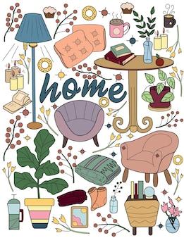 Mobili per la casa disegno tavoli sedie cuscini supporto lampada vaso scrivania soggiorno