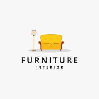 Divano per mobili da casa e logo della lampada da terra