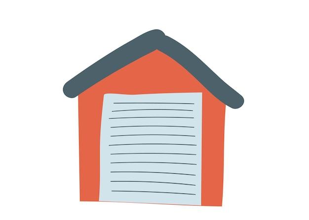Garage della casa nell'illustrazione rossa di vettore di scarabocchio del fumetto del disegno della mano di simbolo di parcheggio dell'interno isolato