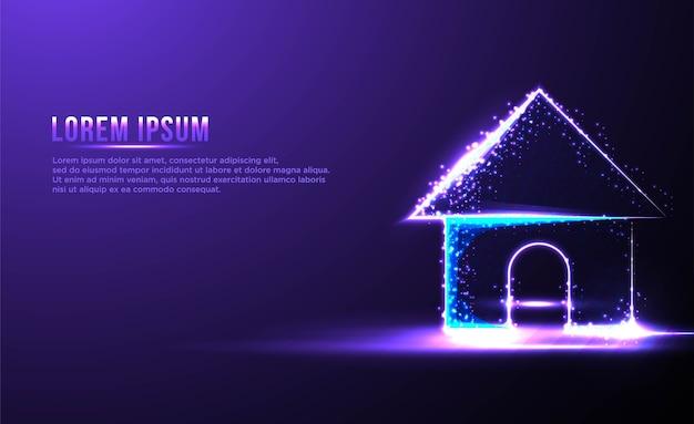 Casa casa astratta wireframe basso poli