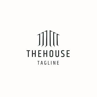 Illustrazione piana di vettore del modello di progettazione dell'icona del logo del cottage della cabina della casa o della casa