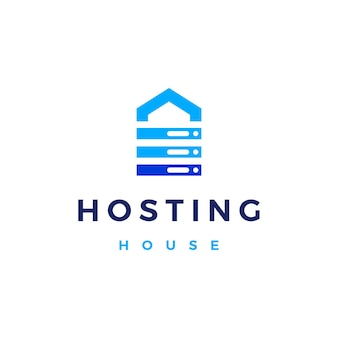 Illustrazione dell'icona di vettore del logo di archiviazione dei dati del cloud del server di hosting della casa della casa