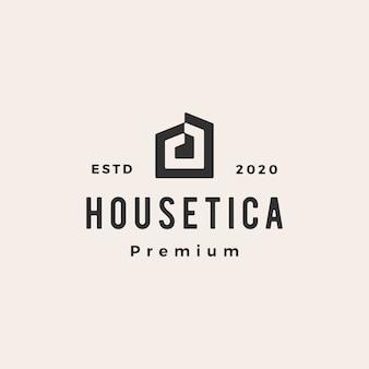 Illustrazione d'annata dell'icona di logo dei pantaloni a vita bassa dell'architetto del tetto di ipoteca domestica della camera