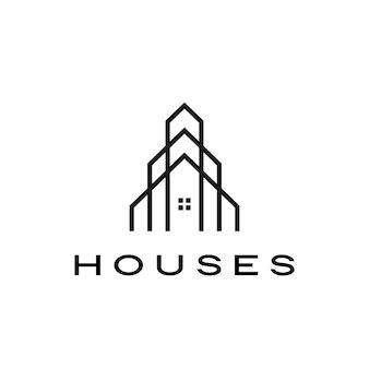 Illustrazione dell'icona di logo dell'architetto del tetto di ipoteca domestica della camera