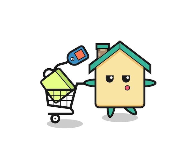 Fumetto dell'illustrazione della casa con un carrello della spesa, design carino