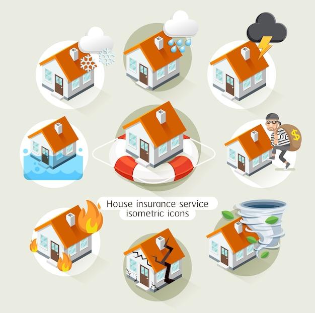 Modello di icone isometriche di servizio aziendale di assicurazione casa.
