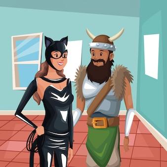 Sfondo interno casa con metà donna corpo gatto e costume uomo vichingo