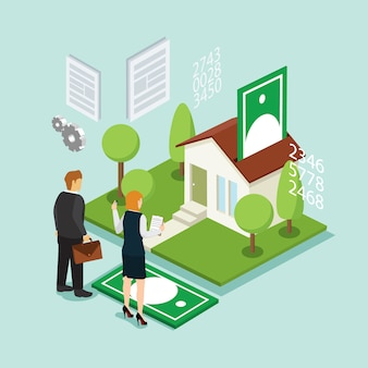 Investimento e credito della casa con isometrico