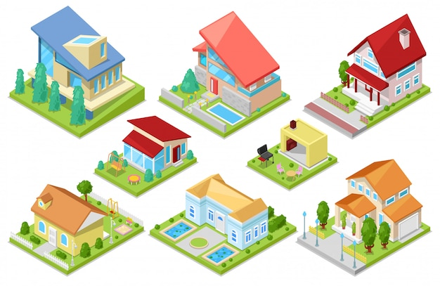 Architettura isometrica dell'alloggio della camera o insieme dell'illustrazione della casa residenziale dell'esterno dell'edificio per la pulizia o della costruzione del cottage