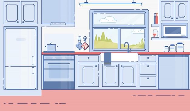 Vettore piano interno di progettazione classica della cucina della camera