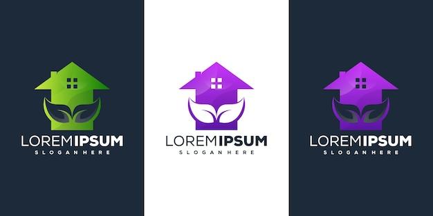 Design del logo sfumato con foglia di casa