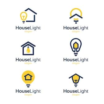 Marchio della luce della casa, illustrazione della luce aziendale, marchio blu e giallo
