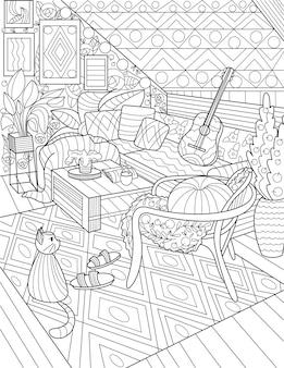 Casa soggiorno disegno a tratteggio con sedie centro tavola divano chitarra piante gatto tappeto casa