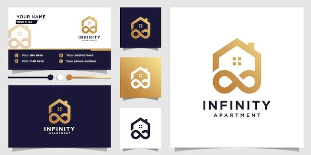 Casa logo design con il concetto di infinito in affitto o società di appartamenti