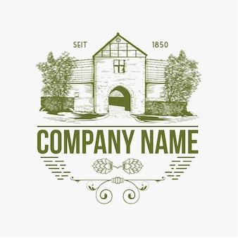 Logo della casa modello di logo vecchia casa della città che costruisce l'illustrazione della casa in stile vintage