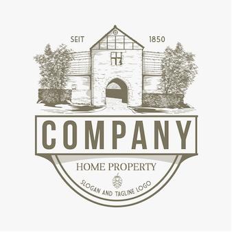 Logo della casa facciata di un edificio in stile antico vecchia casa della città edificio in stile vintage casa illustratio