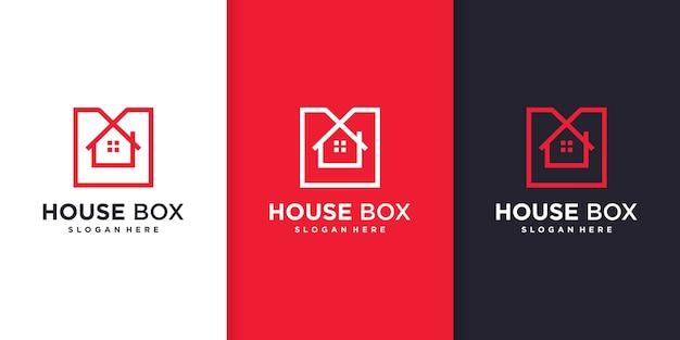 Modello di logo della casa con il concetto di scatola di arte di linea