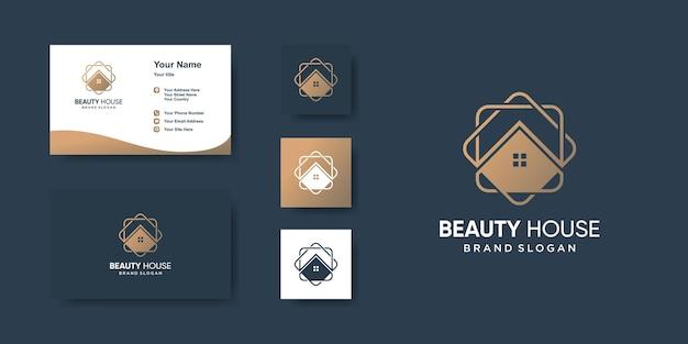 Modello di logo della casa con stile line art per azienda vettore premium