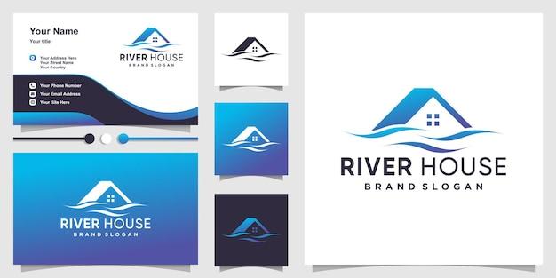Logo della casa con il concetto di fiume creativo vettore premium