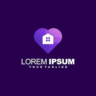 Design del logo gradiente di amore della casa