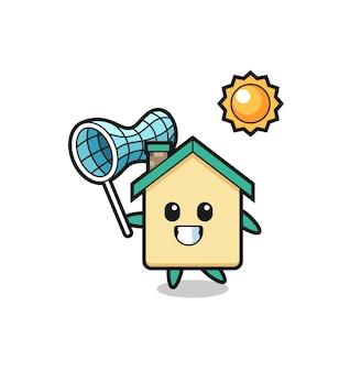 L'illustrazione della mascotte della casa sta catturando una farfalla, un design carino
