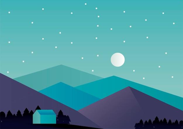 Casa e montagne nella progettazione dell'illustrazione di vettore di scena del paesaggio di aventure di notte