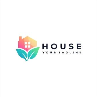 Design del logo gradiente della natura della casa