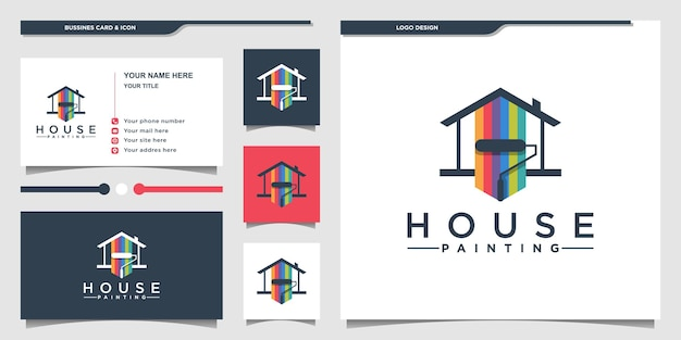 Design del logo della pittura della casa con il concetto di combinazione di colori della vernice e biglietto da visita premium vecto