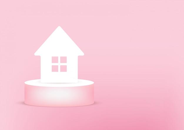 Carta 3d della casa sul rosa