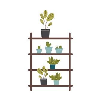 Scaffale per piante da appartamento con più ripiani riempiti da piante in vaso -