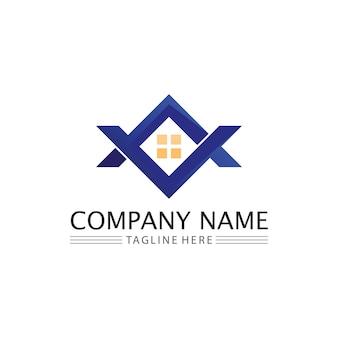 Modello di icone di logo di vettore di edifici per la casa e gli immobili e la casa