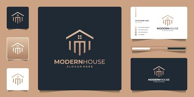 Design del logo immobiliare della casa di lusso, elegante, semplice con forma geometrica e biglietto da visita