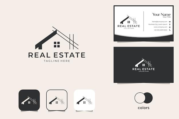 Design del logo immobiliare di ristrutturazione della casa e biglietto da visita