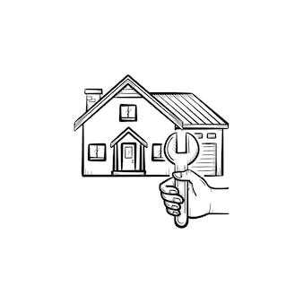 Icona di doodle di contorno disegnato a mano di riparazione della casa. illustrazione di schizzo di vettore della chiave inglese e una casa per la stampa, web, mobile e infografica isolato su priorità bassa bianca.