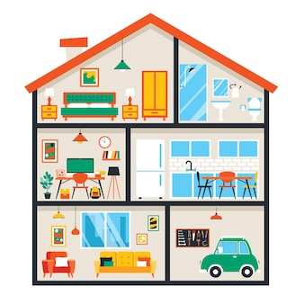 Stanze della casa con mobili piatti