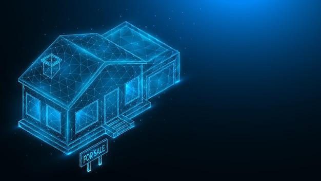 Casa in vendita illustrazione poligonale di una casa con garage