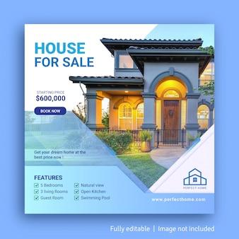 Casa in vendita modello di banner pubblicitario post sui social media