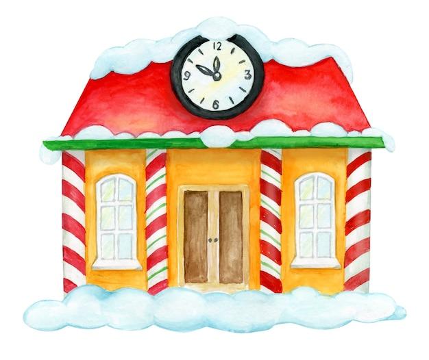 Una casa nella neve, con un grande orologio. illustrazione della casa di natale.