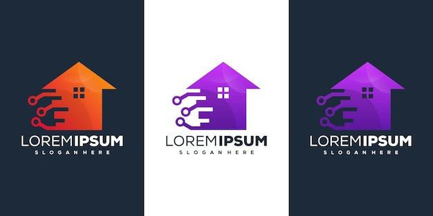 Design del logo sfumato tecnico della casa